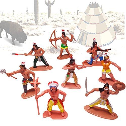 German Trendseller® - 24 x Indianer - Spielzeug Figuren ┃ NEU ┃ Kindergeburtstag ┃ Mitgebsel Mix ┃ Indianer Figuren Mix ┃ 24 Stück