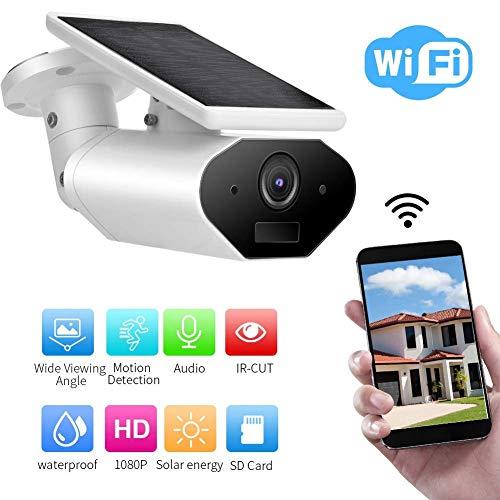 Solarbetriebene IP Kamera, 1080P HD Überwachungskamera Aussen WLAN mit Akku, Solarpanel-Power-Akku-Unterstützung, Amazon Alexa/Google Home, Nachtsicht, Bewegungserkennung (Amazon-ip-kamera)