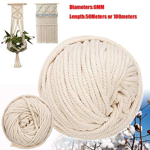 a3e8db903bcd Cuerda de macramé de 6 mm hecha a mano de algodón natural para colgar en la  pared, para hacer manualidades o tejer 6mm x 50meters beige