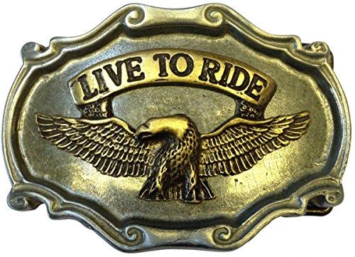 Gürtelschließe Adler Live to Ride 4,0 cm Gürtelschnalle Buckle Adler Motorrad Biker Bike Trike Chopper Shopper Amerika USA, 6,5 x 9,0 cm, bicolor s/g