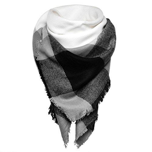 Autiga großer Damen Strickschal kariert Karo XXL Wollschal Oversized Winterschal Deckenschal quadratisch grau-schwarz