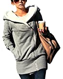 Minetom Damen Herbst Strickjacke Mantel Winterhoodie Baumwolle Langshirt Outerwear Damenpullover (Grau M)