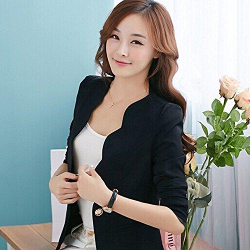 ROPALIA Casual Slim Femme Blazer Costume d'affaires Manteau Vestes de Tailleur. Noir