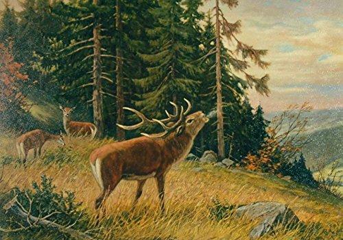 Artland Poster Kunstdruck aufgezogen auf Holz-Platte Wand-Bild E. Krüger Hirsch am Morgen Tiere Wildtiere Hirsch Malerei Grün 49 x 69 x 1,2 cm A7WB