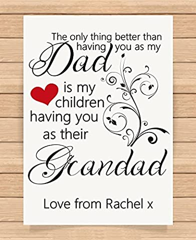 Personalised Presents Gifts For Grandad Grandpa Grandfather Fathers Day Birthday Christmas Xmas Best Grandad Prints Posters Wall Art Home Decor Special Unique
