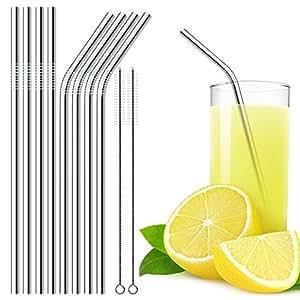 Extra lunghe Cannucce riciclabili acciaio inossidabile 4 diritte + 4 piegate + 2 spazzole Premium Qualita Eco-friendly