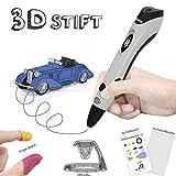 3D Stifte mit PLA Filament 12 Farben - Dikale 07A 【Neueste Version】3D Stift für Kinder mit PLA Farben und 250 Schablone eBook, 3d pen für Erwachsene, Bastler zu kritzeleien, basteln, malen (07A 3D Stift Grau)