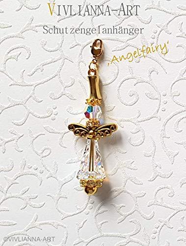 VIVLIANNA-ART Kristallschmuck Anhänger Design KLEINER SCHUTZENGEL 'Angelfairy' aus exklusiven Energie- & Swarovski® Kristallen in allen Teilen Gold veredelt -