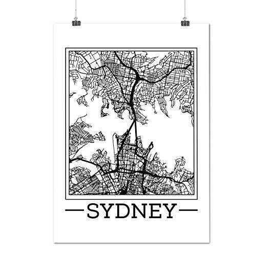 Australien Sydney Karte Groß Stadt Mattes/Glänzende Plakat A3 (42cm x 30cm) | (Australien Perücken Kostüme)