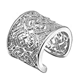 Nikgic Stilvolle Breite geschnitzte Figur Ringent Damen Silber Ringe Einstellbare Mädchen Ring Modeschmuck Zubehör Valentines Geschenk