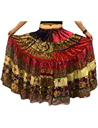 1 - 7 Yard Tribal Gypsy Maxi Tiered Falda Belly Dancing Faldas Seda Blend Banjara Se ajusta S M L XL, un talla 34 - 46