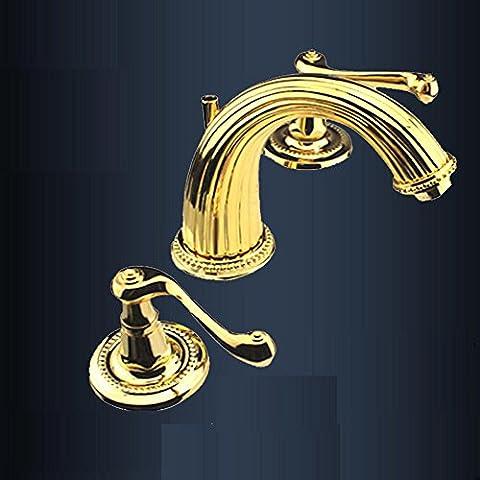 CU@EY Neue Dekoration Continental 24K Gold electroplate Kupfer heißen und kalten Wasserhahn 3-Loch Waschtischmischer home erforderlich