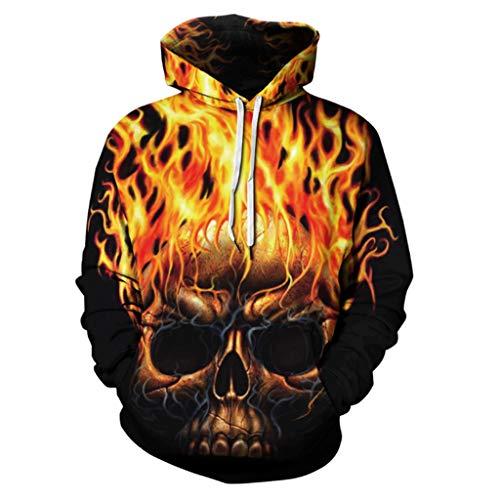 HAOHAOWU Mens Varsity Retro Hoodie, Hoodie Gym Sport Workwear Jacke 3D Schädel Sweatshirts Mit Taschen Casual Sport Pullover Tops Mann Halloween,Gelb,M