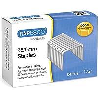 Rapesco - Caja de 5000 grapas 26/6 mm, uso standard en la mayoría de grapadoras