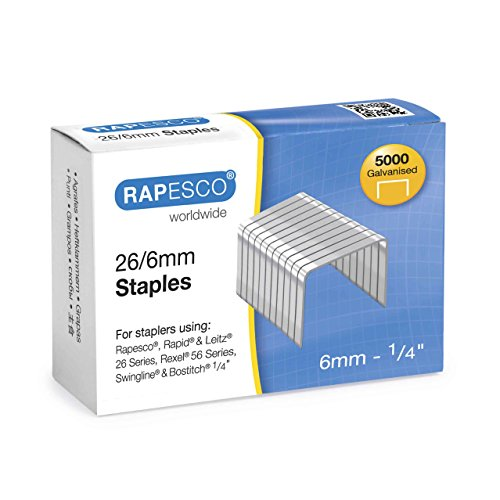 Rapesco Galvanised Staples 26/6 mm - Box of 5,000 Test