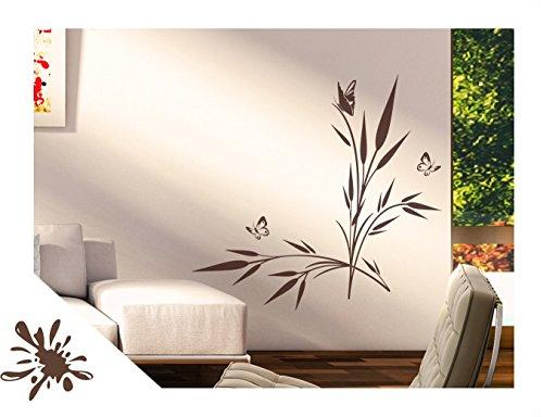 Exklusivpro Wandtattoo Pflanze See-Gras mit Schmetterlinge für Wohnzimmer Schlafzimmer Flur oder Diele (jap42g braun) 120 x 72 cm mit Farb- u. Größenauswahl