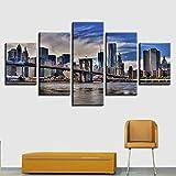 zhfq 200 * 100 cm leinwand malerei familiendekoration Wohnzimmer 5 New York Bridge Foto wandkunst malerei Druck HD architektonische Landschaft Poster malerei-100cm Frame