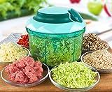 LLQ Gemüse Zerkleinerer Manuell, Zwiebelschneider, Zerkleinern Kräuter mit 5 Klingen, Küchenhelfer für Babynahrung, Früchte, Fleisch