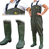 Lineaeffe All Weather Double PVC Waterproof Carp Coarse Fishing Chest Waders/Wellies in Sizes 7 8 9 10 11 & 12