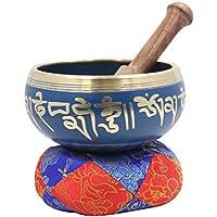 Dharmaobjects tibétain de méditation Yoga OM Mani Padme Hum Bol chantant Maillet Coussin Ensemble bleu