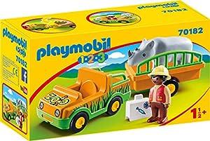 Playmobil 701821.2.3Zoo Vehículo con Rinoceronte, Multicolor