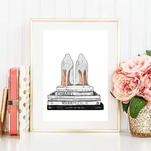 Din A4 Coco Chanel Magazin Bücher Schuhe weiß High Heels Pumps Fashion Mode Modern Chic,...