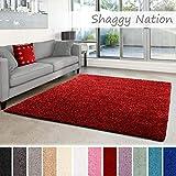 Shaggy-Teppich | Flauschiger Hochflor für Wohnzimmer, Schlafzimmer, Kinderzimmer oder Flur Läufer | einfarbig, schadstoffgeprüft, allergikergeeignet | Rot - 80 x 150 cm