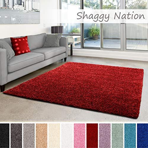 uschiger Hochflor für Wohnzimmer, Schlafzimmer, Kinderzimmer oder Flur Läufer | einfarbig, schadstoffgeprüft, allergikergeeignet | Rot - 80 x 150 cm ()