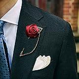 Queta Golden Leaf Kette Ivory Satin Rose Herren Anzüge Corsage Pins Hochzeit Bräutigam Corsage und Boutonnieres
