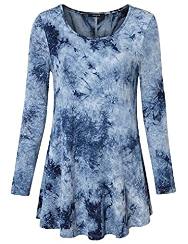 Fashion Tops Ladies,Lotusmile Womens Round Neck Tie Dye Long Sleeve Flared Hem Comfy Flattering Tunic Tops Grey Blue,X-Large