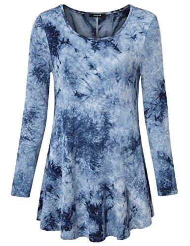 Lotusmile Frauen Tunika Tops, Damen Rundhals Langarm Batik T-Shirts Swing Saum Lockerer Sitz Tunika Bluse Top Graublau,Größe M (Batik-bluse)