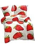 Bettwäsche Seersucker Erdbeere Sommer 135x200 oder 155x220 Baumwolle (135x200)