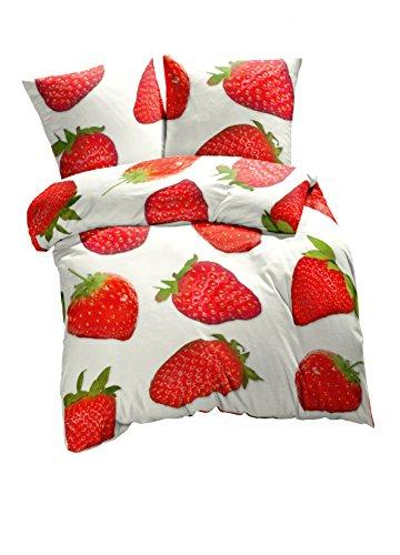 P.K. Bettwäsche Seersucker Erdbeere Sommer 135x200 oder 155x220 Baumwolle (135x200) -