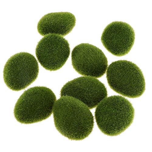 D DOLITY 10 x Künstliche Moos Steine Moosbälle Grünpflanze Dekoration für Aquarium Garten - C -