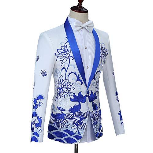 Kostüm Anzug Männer, Chinesische Stickerei Bräutigam Toast Show Kleid Bühne Bühne Zeremonialanzug,Weiß ()