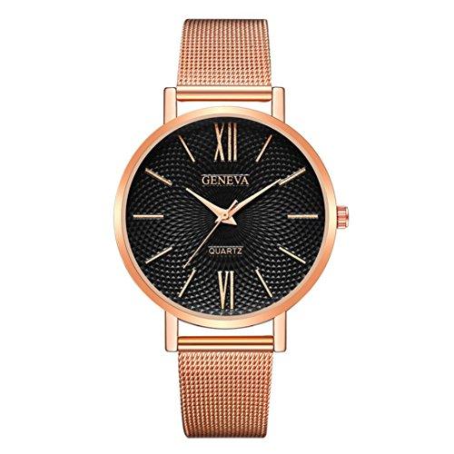 Armbanduhr Uhr für Weibliche Studenten Mädchen Damen Uhrenarmband dünne Edelstahl Band-analoge Quarz Uhr LMMVP (Roségold)