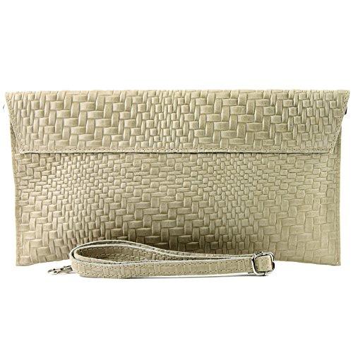 Clutch Flechtmuster modamoda Abendtasche Sandfarben Ledertasche ital Handgelenktasche Unterarmtasche Damentasche de T106F qSppTW84