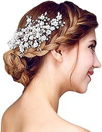 YAZILIND tocado nupcial pelo clip flores de perlas de pelo de la boda accesorios de fiesta para mujeres y ni?as (1 PC)
