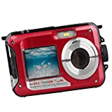 Sharplace W8D Dual LCD-Bildschirm 16-fach Digitaler Zoom Wasserfest Digital Video Kamera - Rot