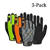 Vgo Glove Guantes de trabajo de cuero PU pantalla táctil alta destreza multifunción (3 pares,...