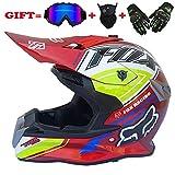 Motocross Motorradhelm für Erwachsene und Cross Country MX-Offroad-Motorrad für Erwachsene (Handschuhe, Brille, Maske, 4er-Set),Red,S
