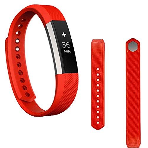 Preisvergleich Produktbild Sansee Ersatz-Armband Silikon-Gürtelschnalle + Schutzfolie für Fitbit Alta HR (Silikonband + Folie) (Rot)