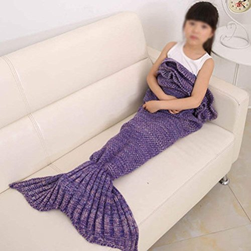 GuoEY Die Fish Tail Klimaanlage Decken Verdickung Nap Nap Kinder Four Seasons Sofa Blanket (70 x 140 cm) (Farbe: Violett-b)