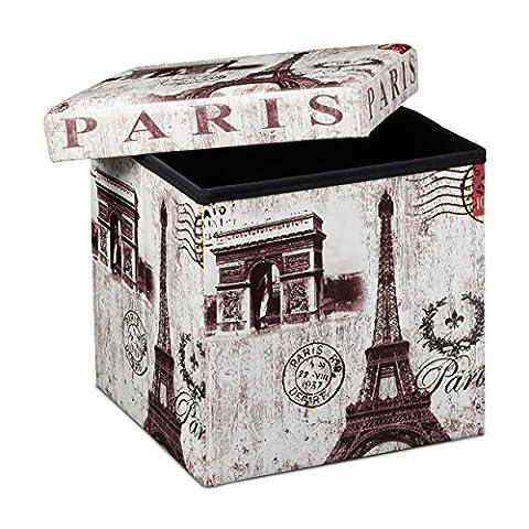 Relaxdays Tabouret pliant coffre de rangement pliable banc de stockage avec couvercle amovible 38 x 38 x 38 cm pouf en similicuir repose-pieds table appoint motifs tendances Paris