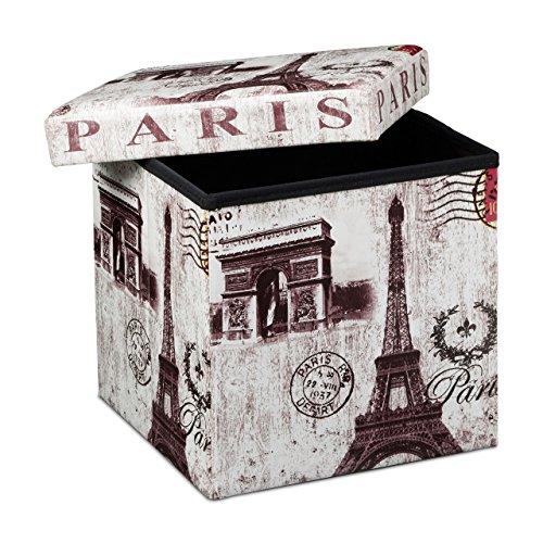 Relaxdays Paris Puff Pieghevole, 38 X 38 X 38 cm, Finta Pelle, Multicolore