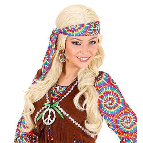 Hippie Schmuck Set Peace Kette und Ohrringe 60er 70er Jahre Halskette und Kreolen Friedenssymbol Silberschmuck Woodstock Anhängerkette und Ohrschmuck Flower Power Faschingsschmuck