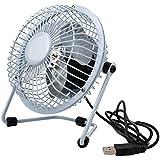 USB-Mini-Fan [ kleiner Tisch-Ventilator für den Schreibtisch / Büro ] | METALL | mit An- & Ausschalter | 360° neigbar | hoher Luftdurchsatz trotz super leisem Design | Energiesparend - Movoja® Weiß