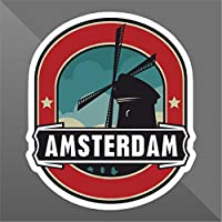 Sticker Amsterdam - Decal Cars Motorcycles Helmet Wall Camper Bike Adesivo Adhesive Autocollant Pegatina Aufkleber - cm 10