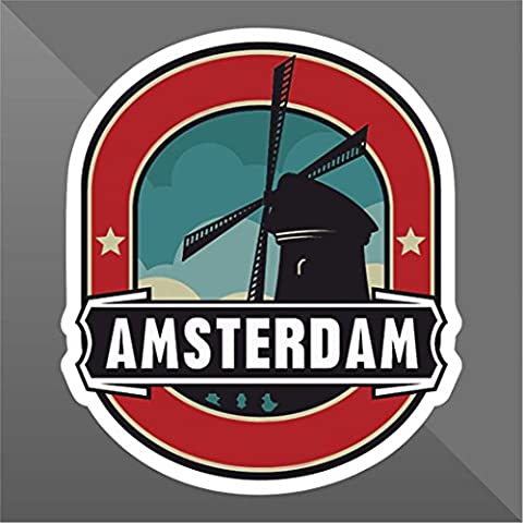 Sticker Amsterdam - Decal Cars Motorcycles Helmet Wall Camper Bike Adesivo Adhesive Autocollant Pegatina Aufkleber - cm 32