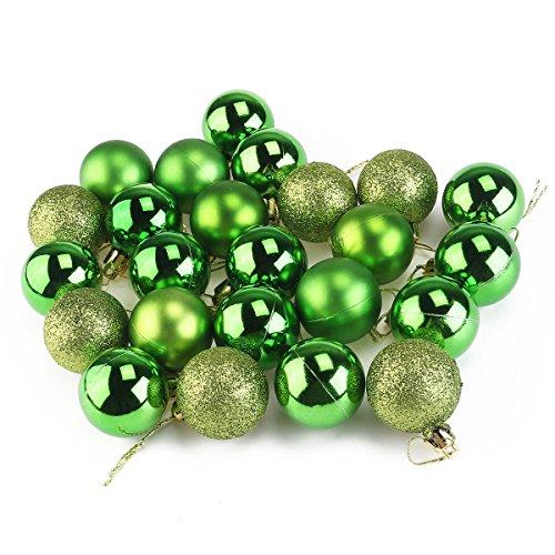 Pixnor 24pcs Christbaumkugeln Ornamente für Weihnachtsbaum Dekoration Kugeln (4cm, grün) (Weihnachtsbaum-kugel Dekorationen)